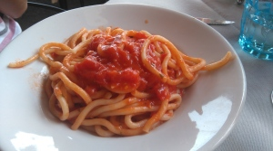 Pici with Garlic and Tomato Sauce
