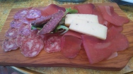A selection of wild boar meats with sheeps cheese